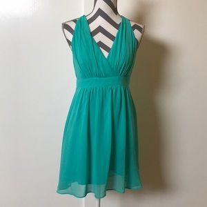 Express Seafoam Green V Neck Empire Waist Dress 2
